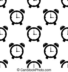 Alarm clock seamless pattern on white background. Flat design. Vector Illustration