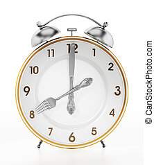 Alarm clock serving plate ith fork and knife. 3D...
