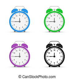Alarm clock. Set icons. Flat design style. Vector illustration