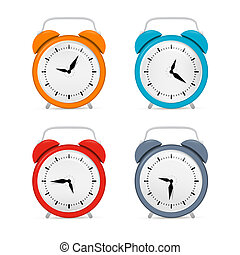 Alarm Clock Set Isolated on White Background