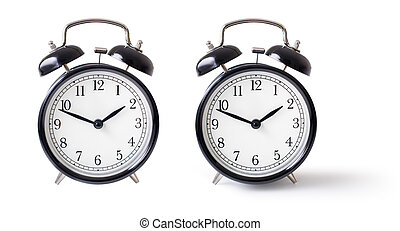 Alarm clock set isolated with clipping path included