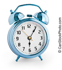 Alarm clock showing six hours with clipping path with no shadows included