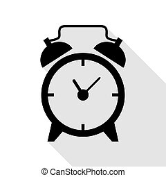 Alarm clock sign. Black icon with flat style shadow path.
