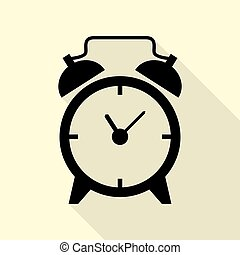 Alarm clock sign. Black icon with flat style shadow path on cream background.