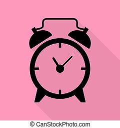 Alarm clock sign. Black icon with flat style shadow path on pink background.