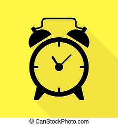 Alarm clock sign. Black icon with flat style shadow path on yellow background.