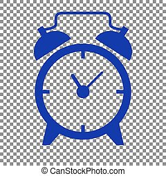 Alarm clock sign. Blue icon on transparent background.
