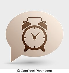 Alarm clock sign. Brown gradient icon on bubble with shadow.