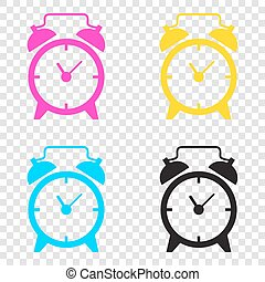 Alarm clock sign. CMYK icons on transparent background. Cyan, ma