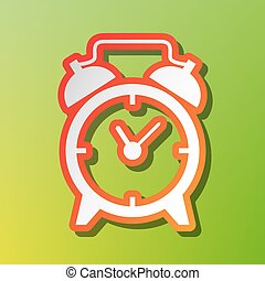 Alarm clock sign. Contrast icon with reddish stroke on green backgound.