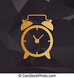 Alarm clock sign. Golden style on background with polygons.