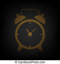 Alarm clock sign. Icon as grid of small orange light bulb in darkness. Illustration.