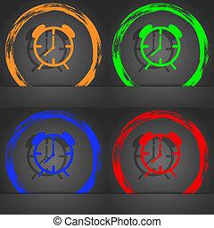 Alarm clock sign icon. Wake up alarm symbol. Fashionable modern style. In the orange, green, blue, red design.