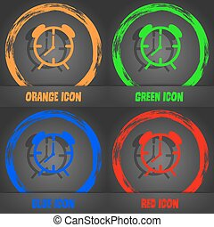 Alarm clock sign icon. Wake up alarm symbol. Fashionable modern style. In the orange, green, blue, red design. Vector