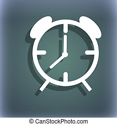 Alarm clock sign icon. Wake up alarm symbol. On the blue-green abstract background with shadow and space for your text.