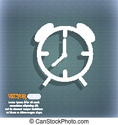 Alarm clock sign icon. Wake up alarm symbol. On the blue-green abstract background with shadow and space for your text. Vector