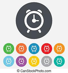 Alarm clock sign icon. Wake up alarm symbol. Round colourful...