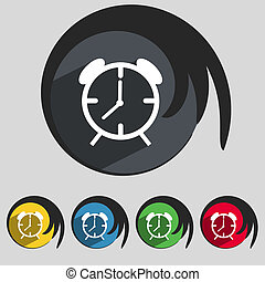 Alarm clock sign icon. Wake up alarm symbol. Set of colourful buttons.