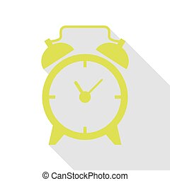 Alarm clock sign. Pear icon with flat style shadow path.
