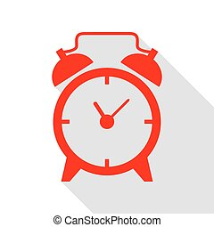 Alarm clock sign. Red icon with flat style shadow path.