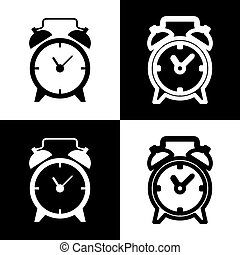 Alarm clock sign. Vector. Black and white icons and line...