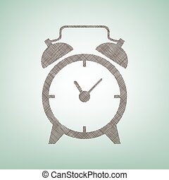 Alarm clock sign. Vector. Brown flax icon on green background with light spot at the center.