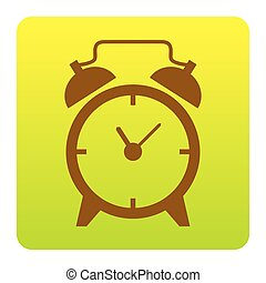 Alarm clock sign. Vector. Brown icon at green-yellow gradient square with rounded corners on white background. Isolated.