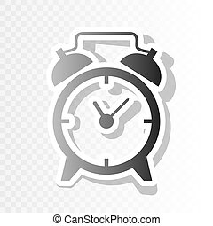 Alarm clock sign. Vector. New year blackish icon on transparent background with transition.
