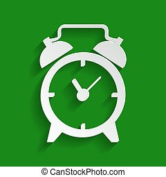 Alarm clock sign. Vector. Paper whitish icon with soft shadow on green background.