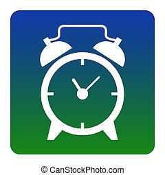 Alarm clock sign. Vector. White icon at green-blue gradient square with rounded corners on white background. Isolated.