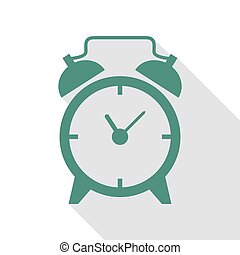 Alarm clock sign. Veridian icon with flat style shadow path.