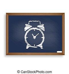 Alarm clock sign. White chalk icon on blue school board with sha
