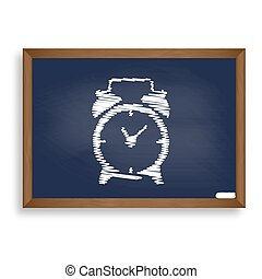 Alarm clock sign. White chalk icon on blue school board with...