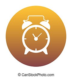 Alarm clock sign. White icon in circle with golden gradient as b