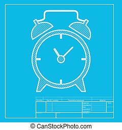 Alarm clock sign. White section of icon on blueprint template.