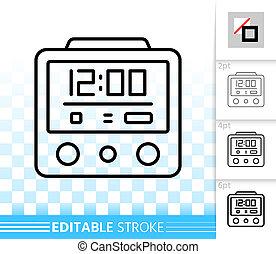 Alarm clock simple black line vector icon  Alarm clock black
