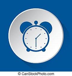 alarm clock - simple blue icon on white button