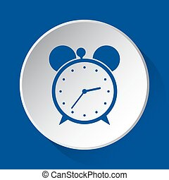 alarm clock - simple blue icon on white button