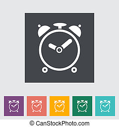 Alarm clock. Single flat icon. Vector illustration..