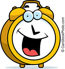 Alarm Clock Smiling - A cartoon alarm clock happy and...