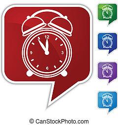 Alarm clock Speech Balloon Icon Set