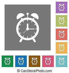 Alarm clock square flat icons