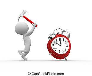 Alarm clock - 3d people - men, person with hammer and a...
