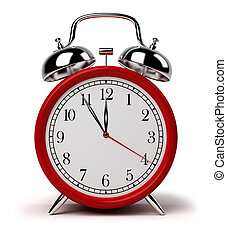 alarm clock - Red alarm clock. 3d image. Isolated white...