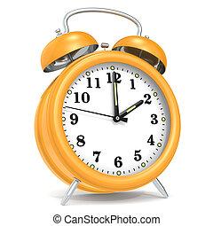 alarm, clock.