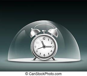 alarm clock under a glass dome