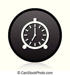 Alarm clock vector black icon. Round timer sign. Web ringer symbol.