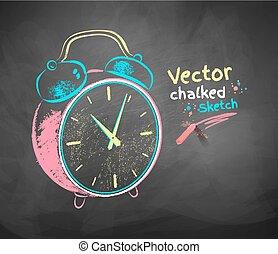 Alarm clock. - Color vector chalkboard drawing of alarm...
