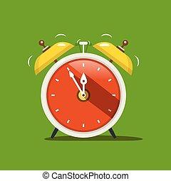 Alarm Clock. Vector Flat Design Icon on Green Background.