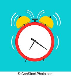 Alarm clock vector front view flat icon. Work time retro red round reminder